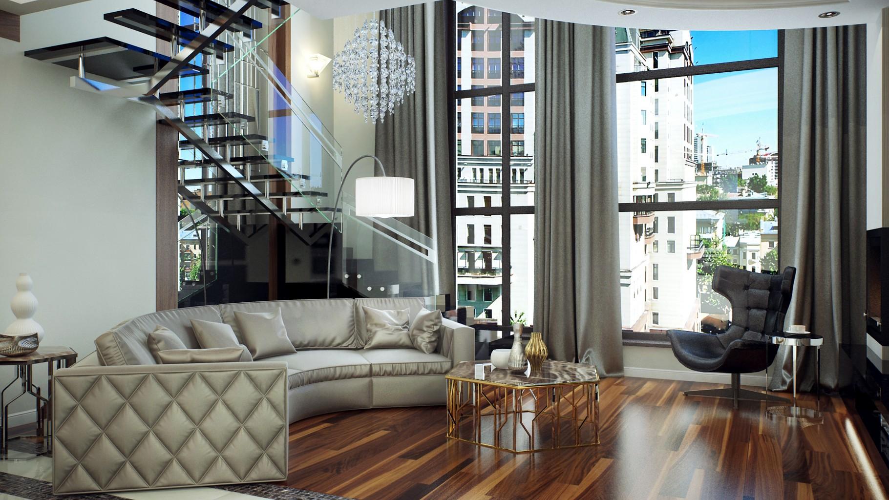 Двухуровневая квартира в стиле модерн