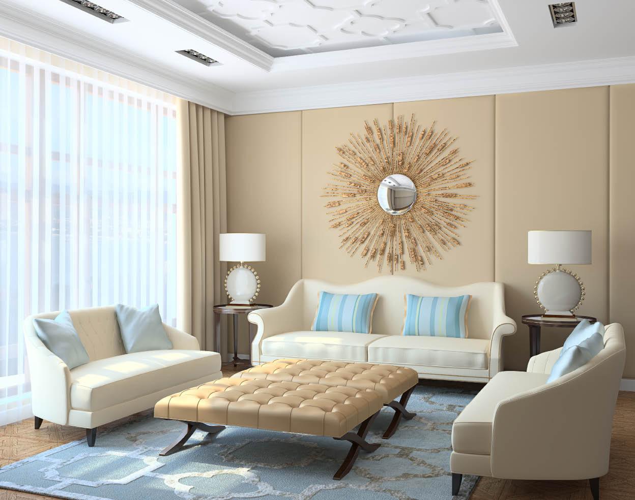 Кремово-голубая гостиная