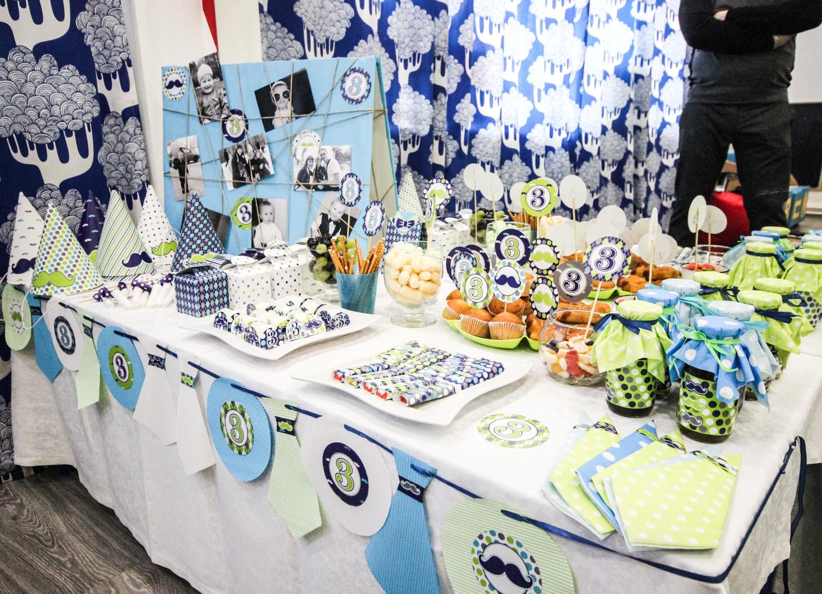 Украшение стола для дня рождения сына