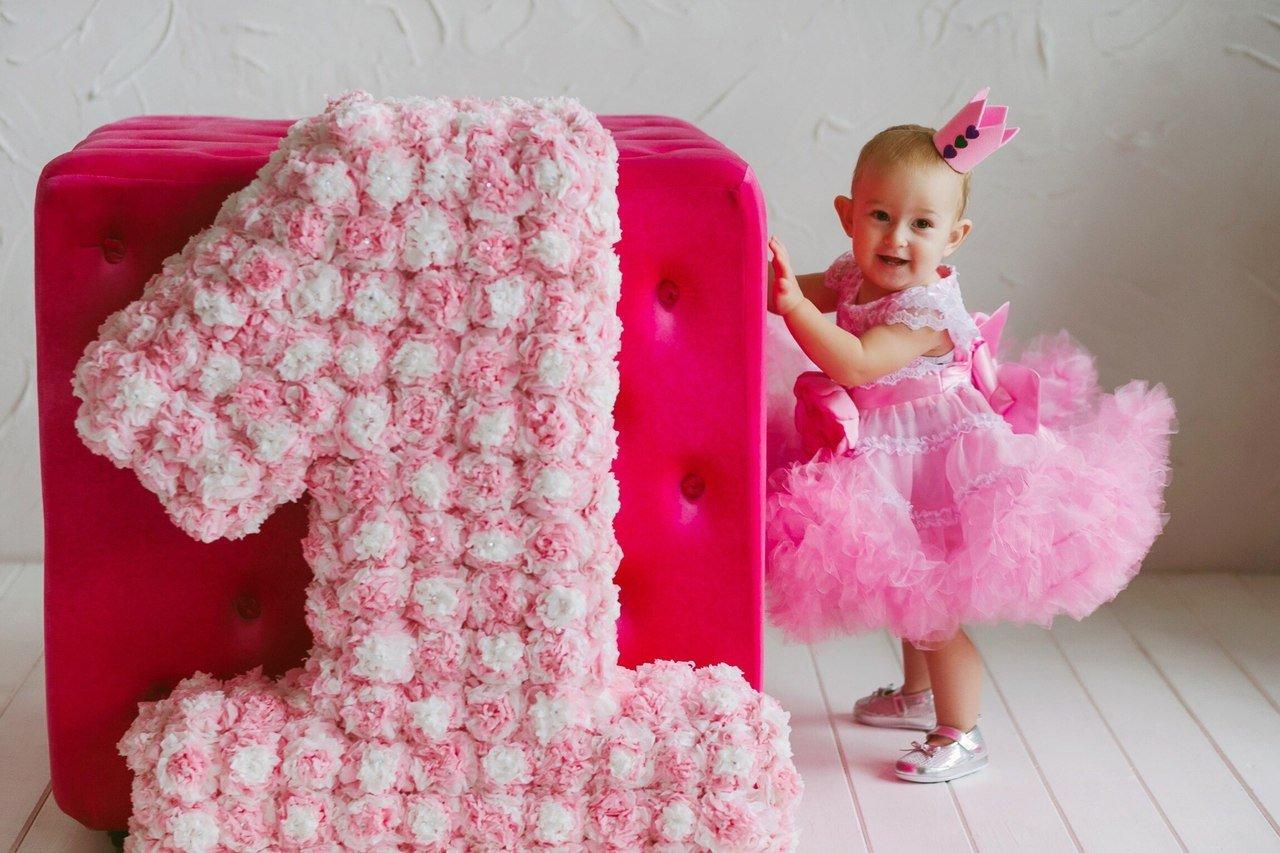 Большая мягкая цифра для первого дня рождения дочери