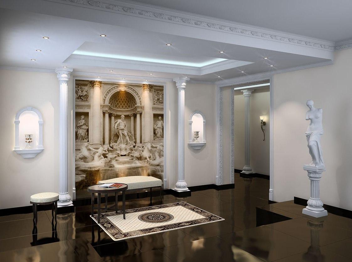 Римский стиль в интерьере гостиной