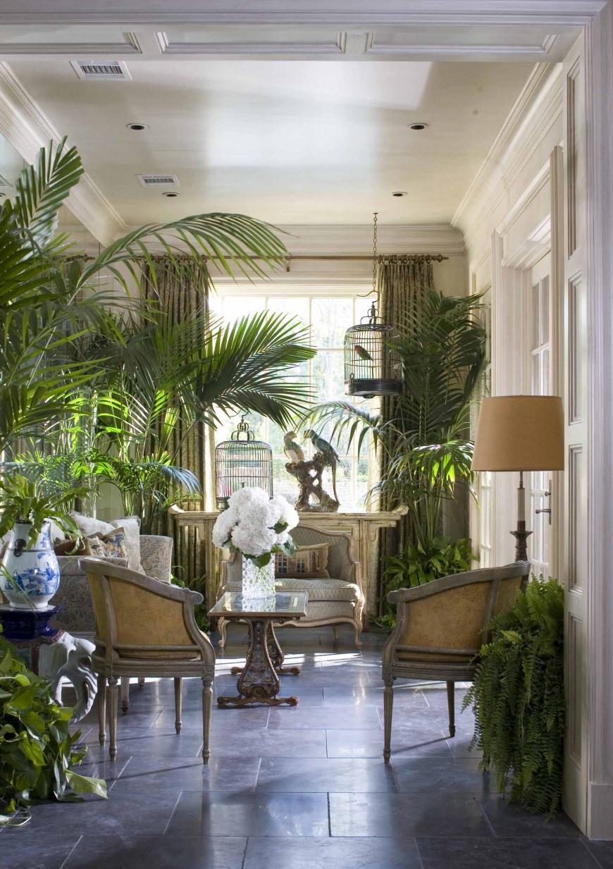 Обильно украшенная растениями комната отдыха в колониальном стиле