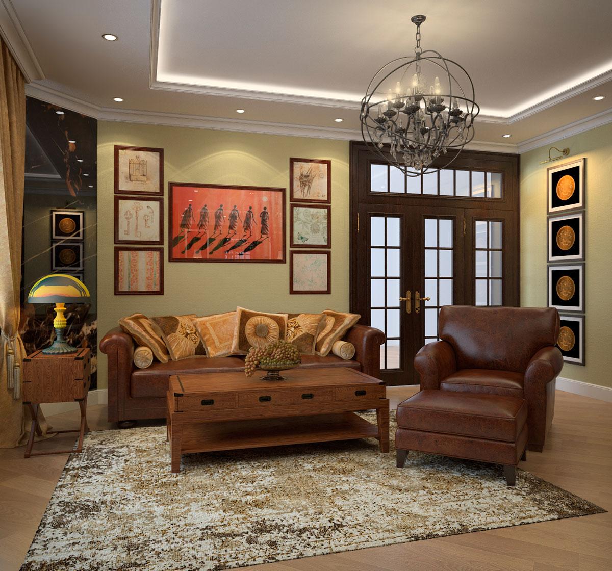 Гостиная в коричнево-оливковых тонах в колониальном стиле