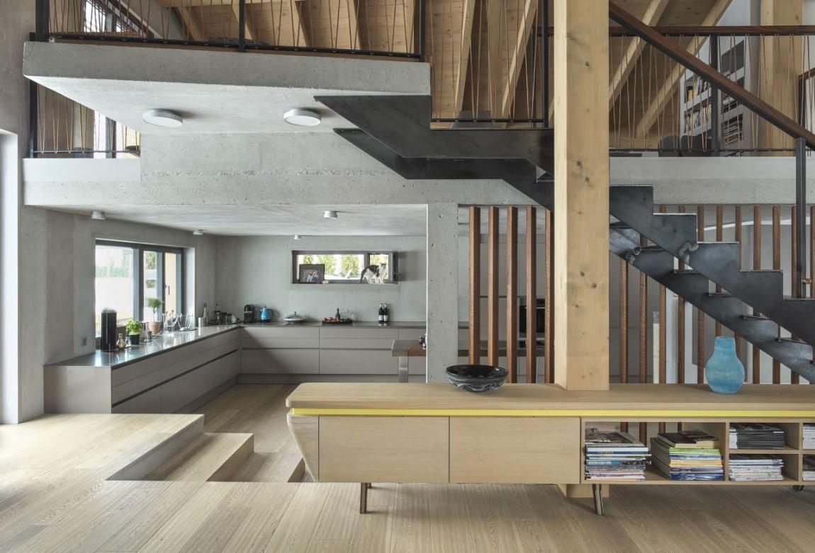 Деревянные и бетонные колонны в современном интерьере
