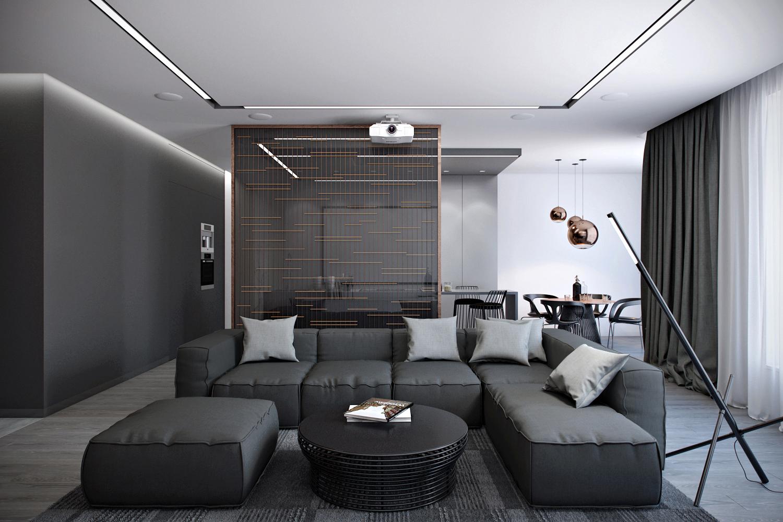 Черно-серый интерьер в стиле конструктивизм