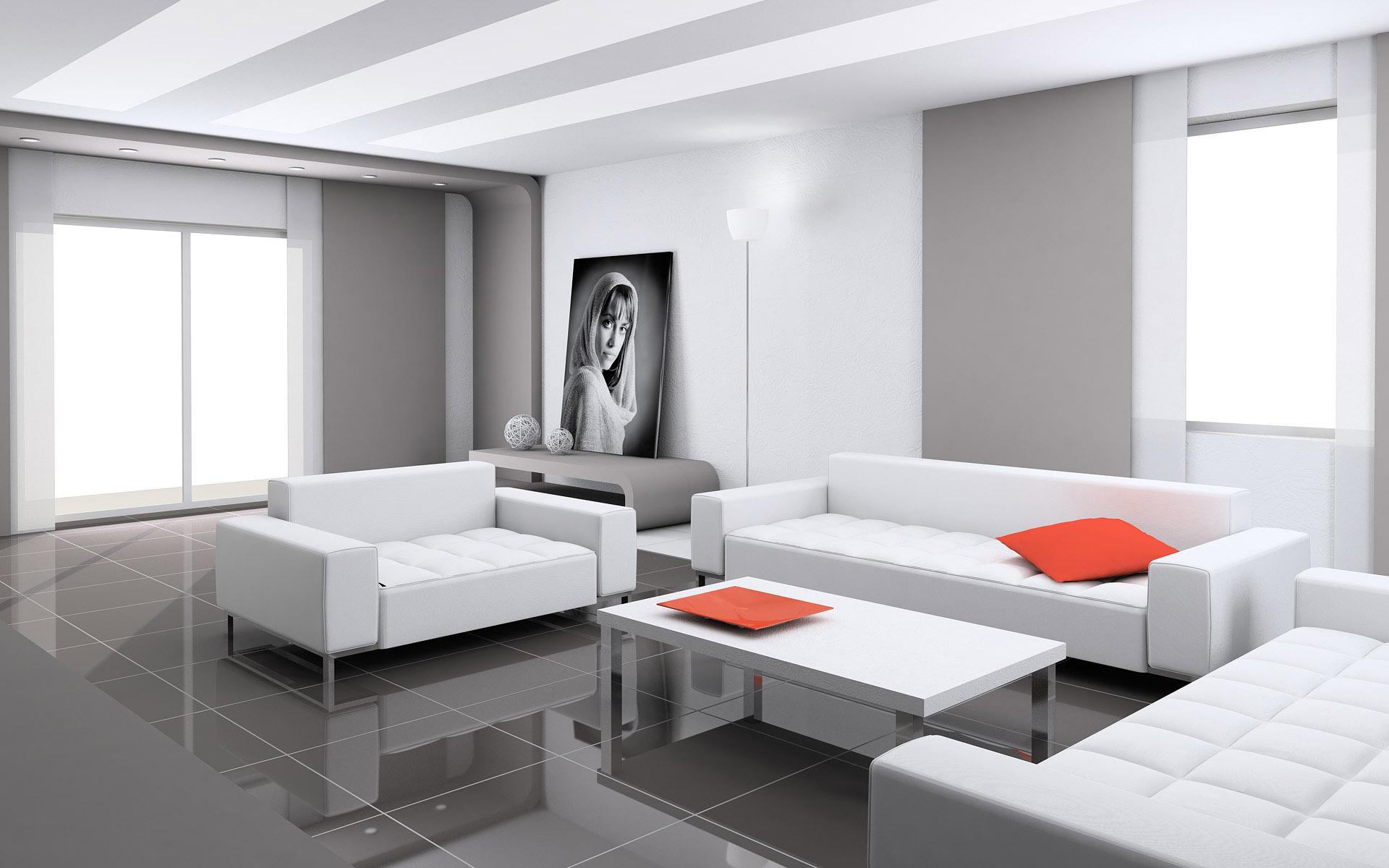 Серо-белая гостиная в стиле конструктивизм