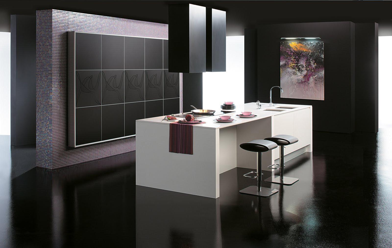 Черный потолок на кухне с островом в стиле конструктивизм