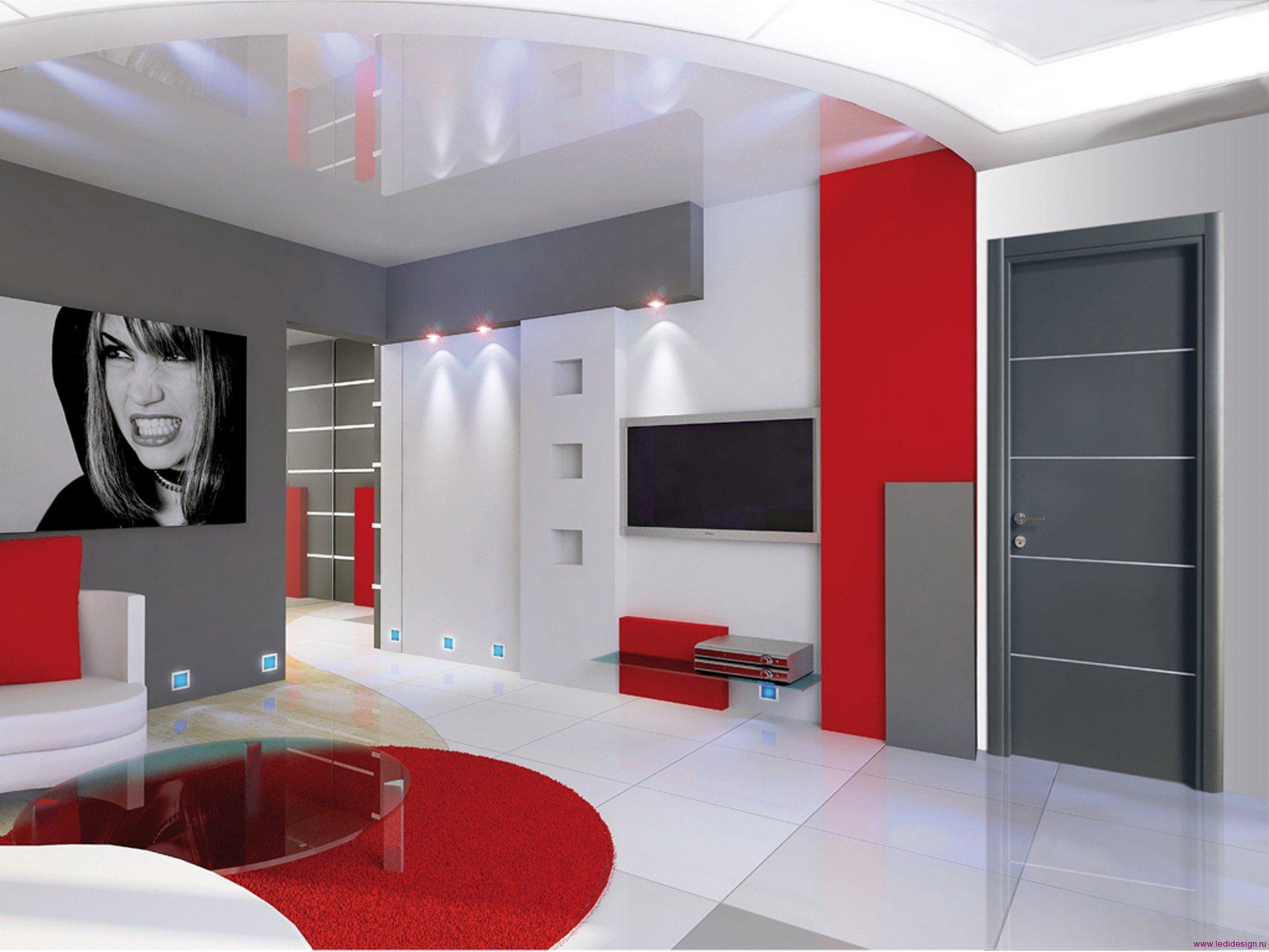 Красный, серый и белый цвета в гостиной в стиле конструктивизм
