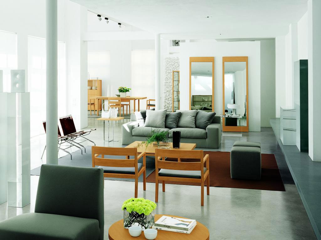 Серый, белый и коричневый цвета в интерьере гостиной