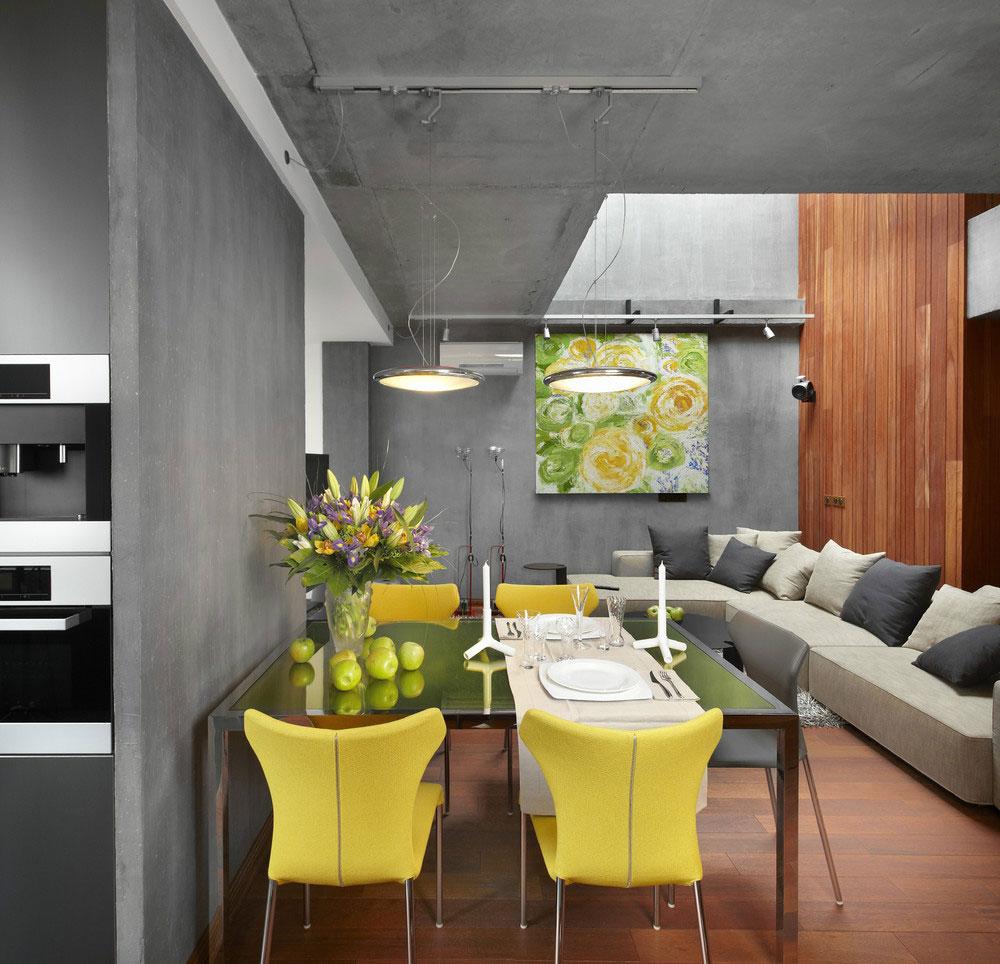 Серо-коричневая гостиная-столовая с желтыми акцентами в стиле конструктивизм