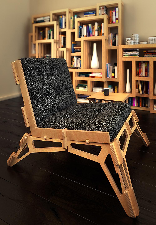 Кресло в стиле конструктивизм из многослойной фанеры