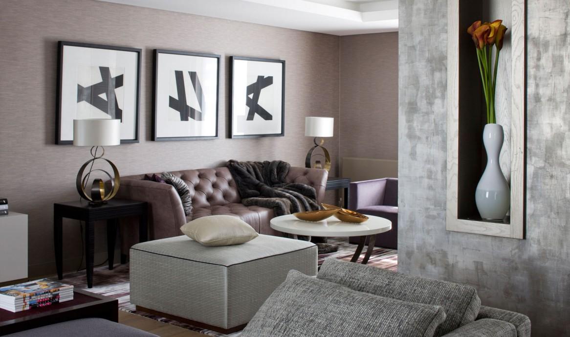 Серо-коричневая гостиная в стиле конструктивизм