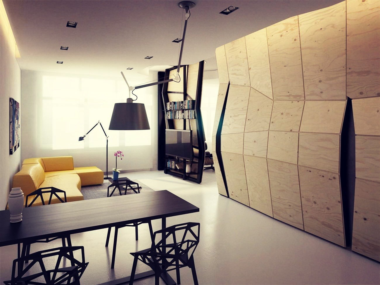 Белый потолок в гостиной-столовой в стиле конструктивизм