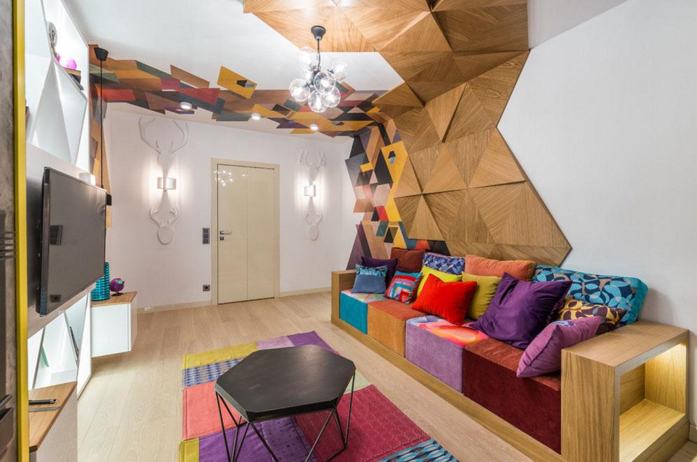 Разноцветный потолок в гостиной в стиле конструктивизм
