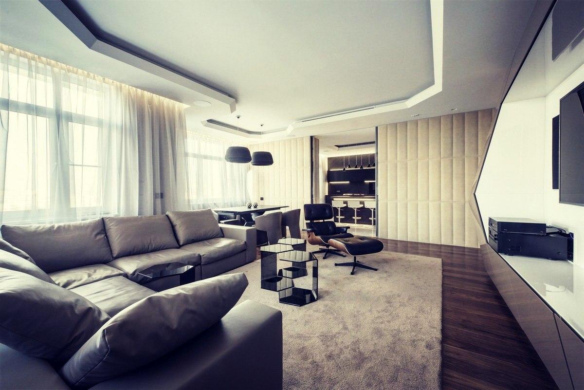 Белый потолок в гостиной в стиле конструктивизм
