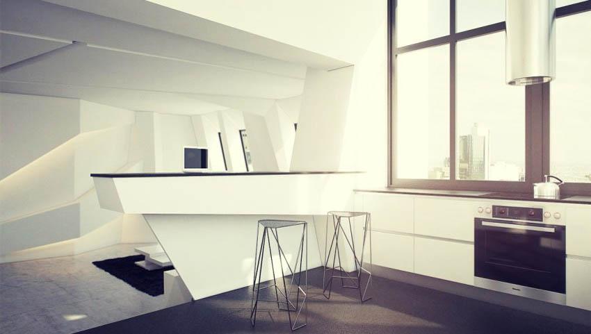 Черно-белая современная кухня в стиле конструктивизм