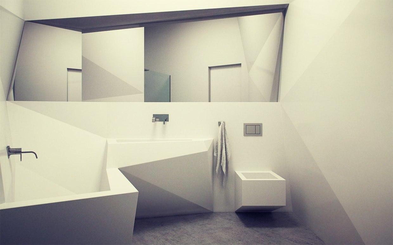 Белая ванная комната в стиле конструктивизм