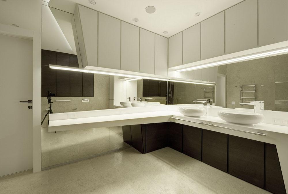 Черно-белая мебель в ванной в стиле конструктивизм