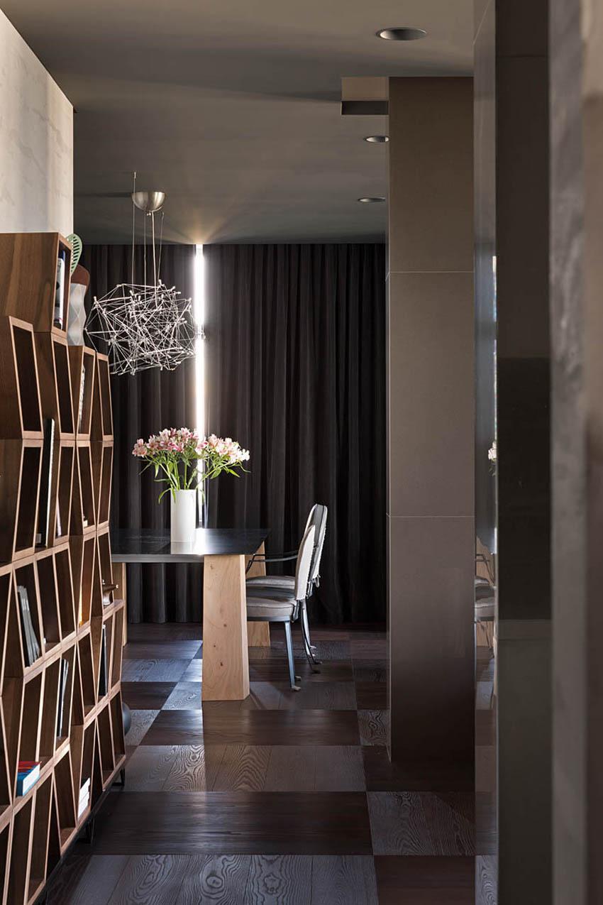 Коричневая и серая мебель в интерьере в стиле конструктивизм