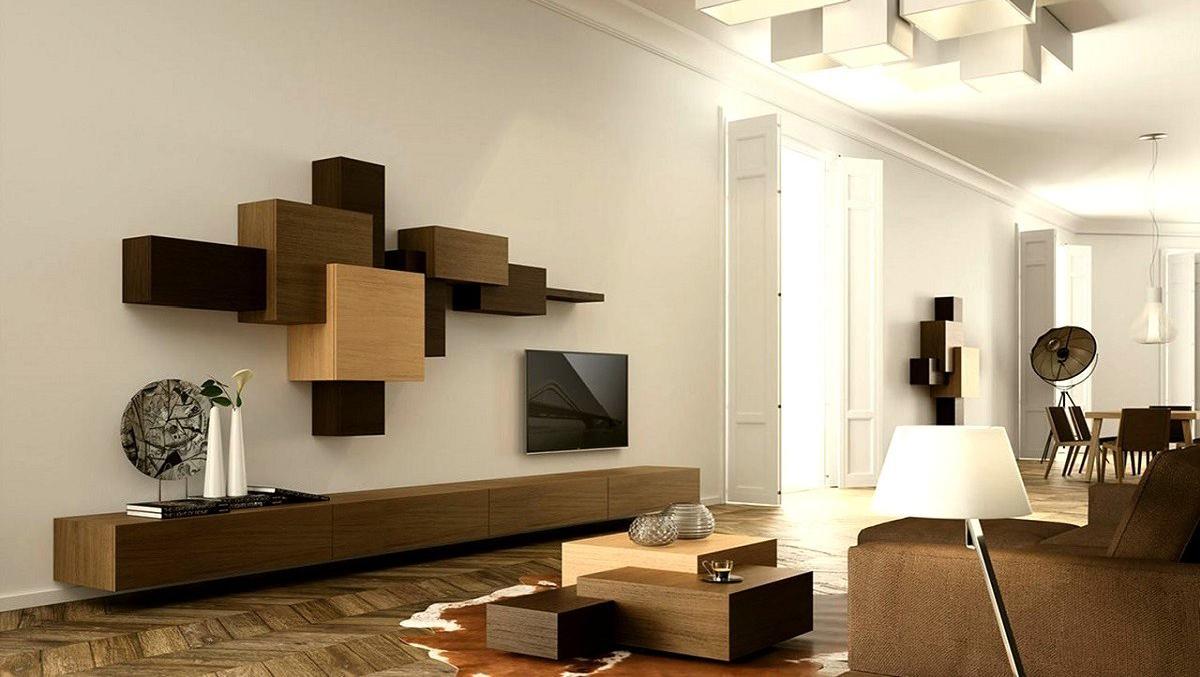 Бело-коричневый интерьер в стиле конструктивизм