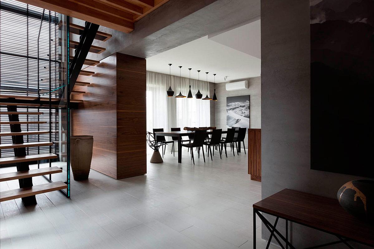 Столовая в доме в стиле конструктивизм