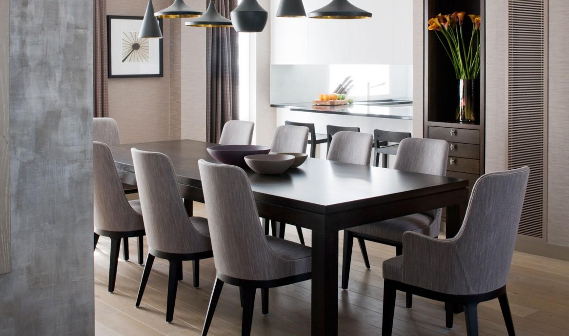 Черные люстры в столовой в стиле конструктивизм