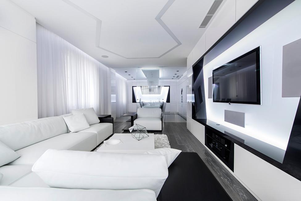 Черно-белая гостиная в стиле конструктивизм