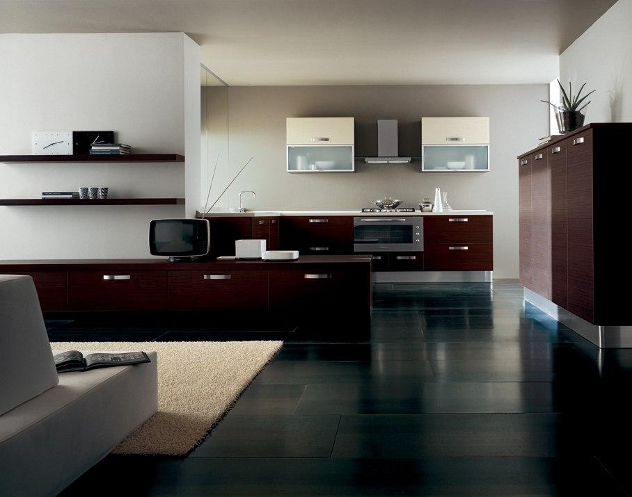 Черный, коричневый и белый цвета в интерьере в стиле конструктивизм
