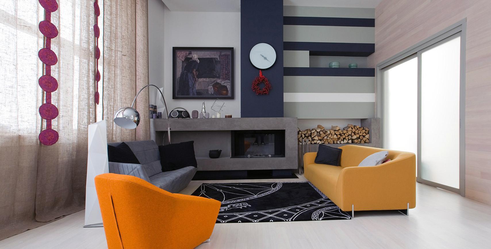 Ламинат и краска в отделке гостиной в стиле конструктивизм