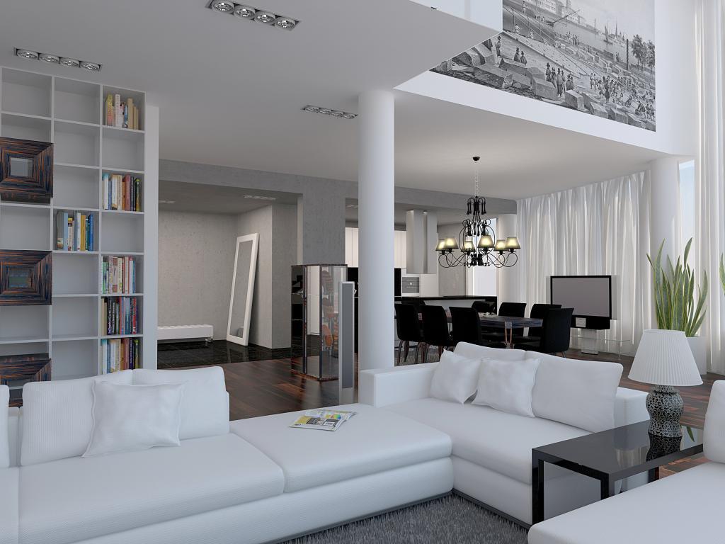 Люстра и точечное освещение в гостиной-кухне в стиле конструктивизм