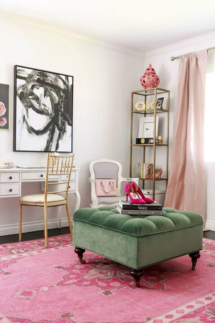 Розовый ковер в интерьере