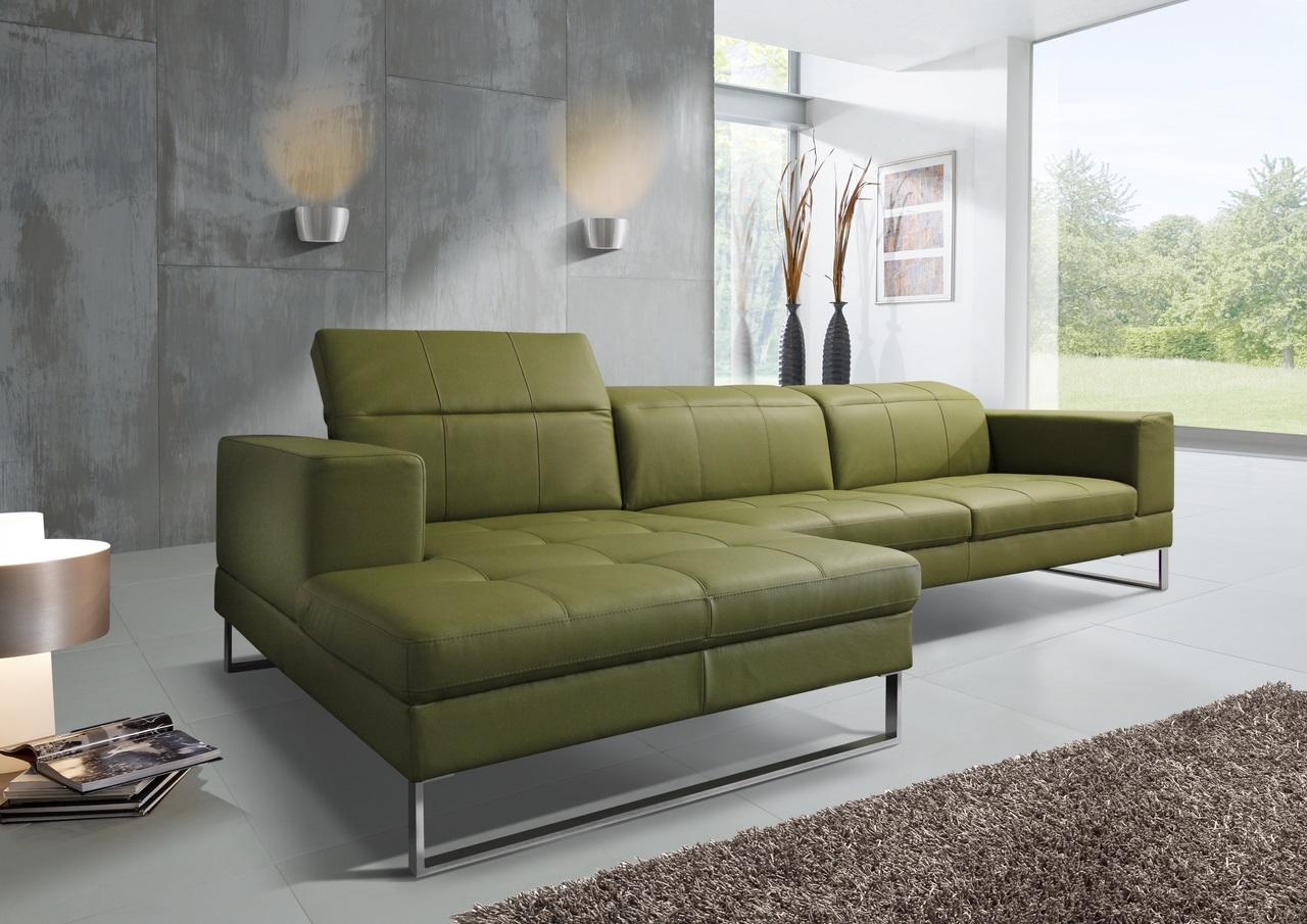 Кожаный оливковый диван