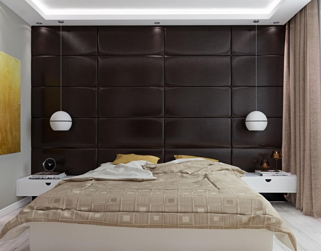 Темная кожаная стена в спальне