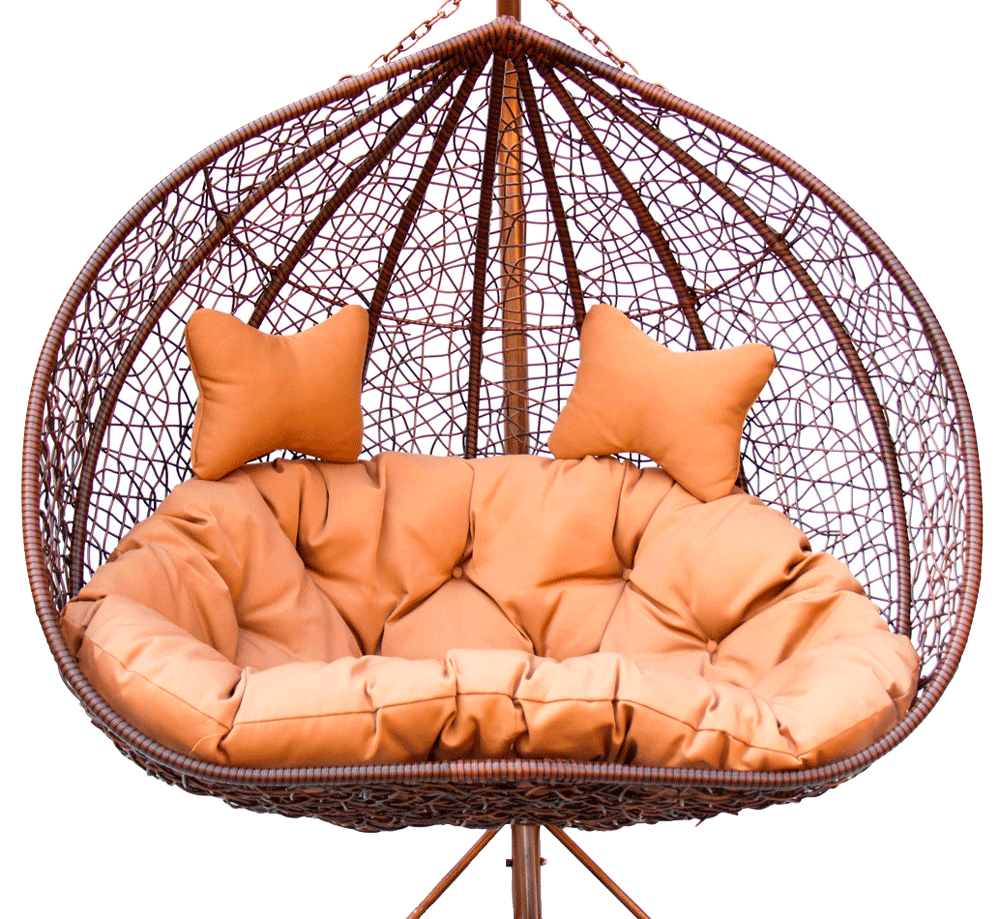 Коричневое плетеное кресло гамак