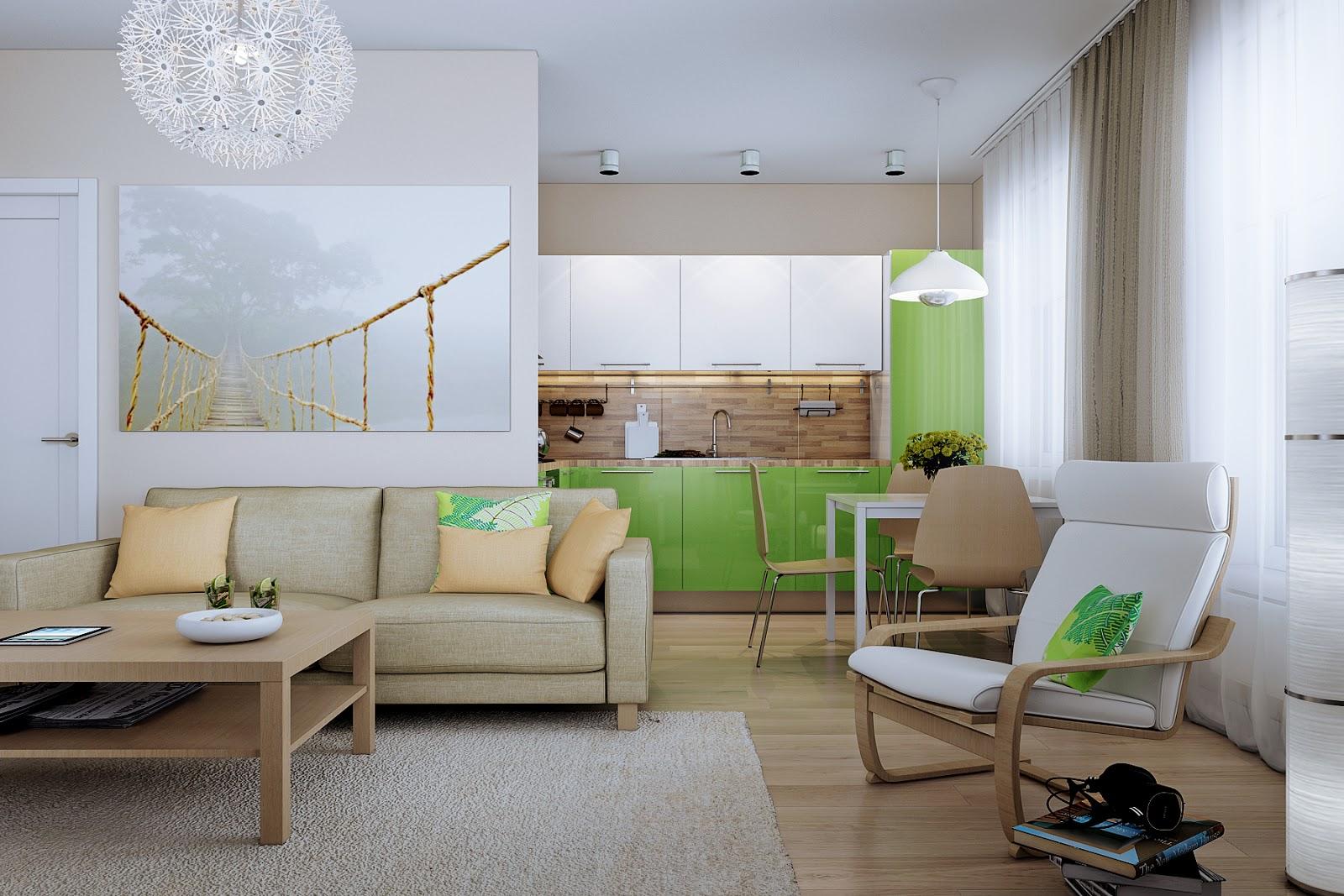 Бежево-белое кресло в квартире