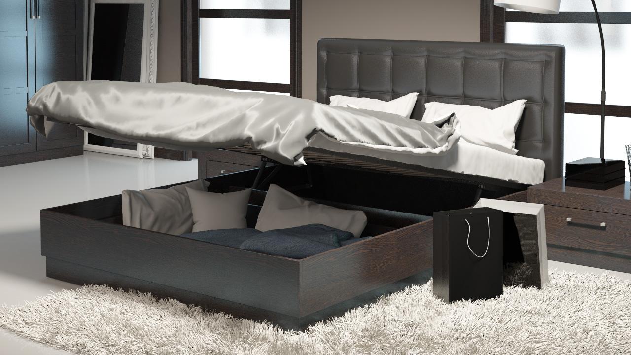 Кровать цвета венге с подъемным механизмом