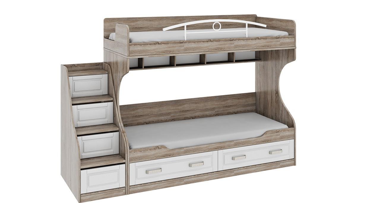 Серо-белая детская кровать с ящиками