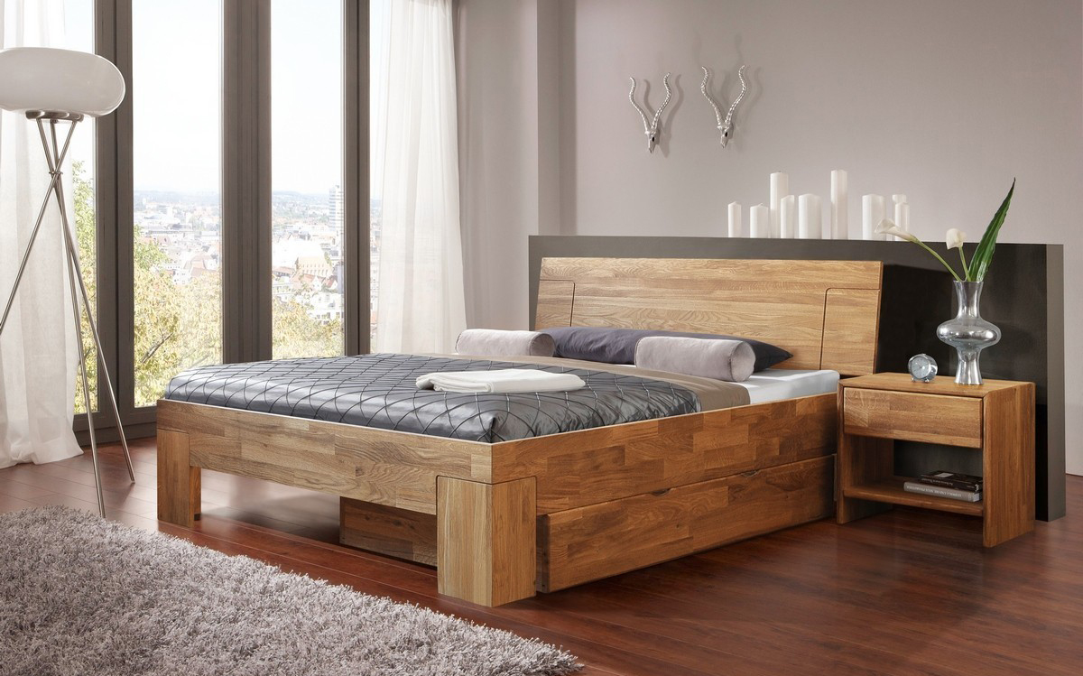 Современная деревянная кровать с ящиками