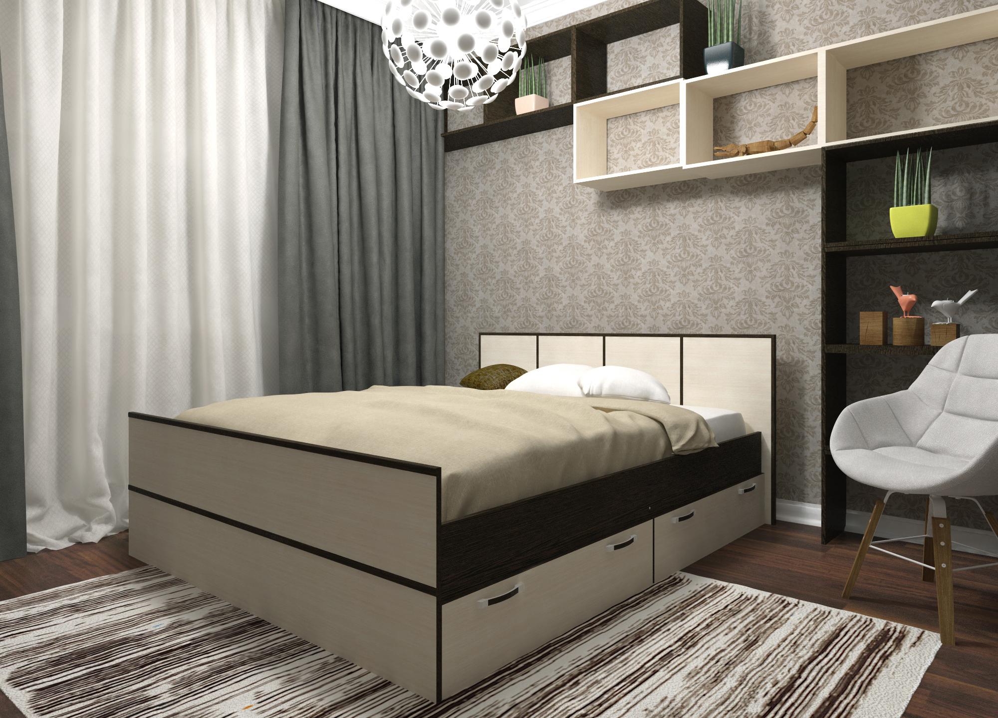 Бежево-черная кровать с ящиками
