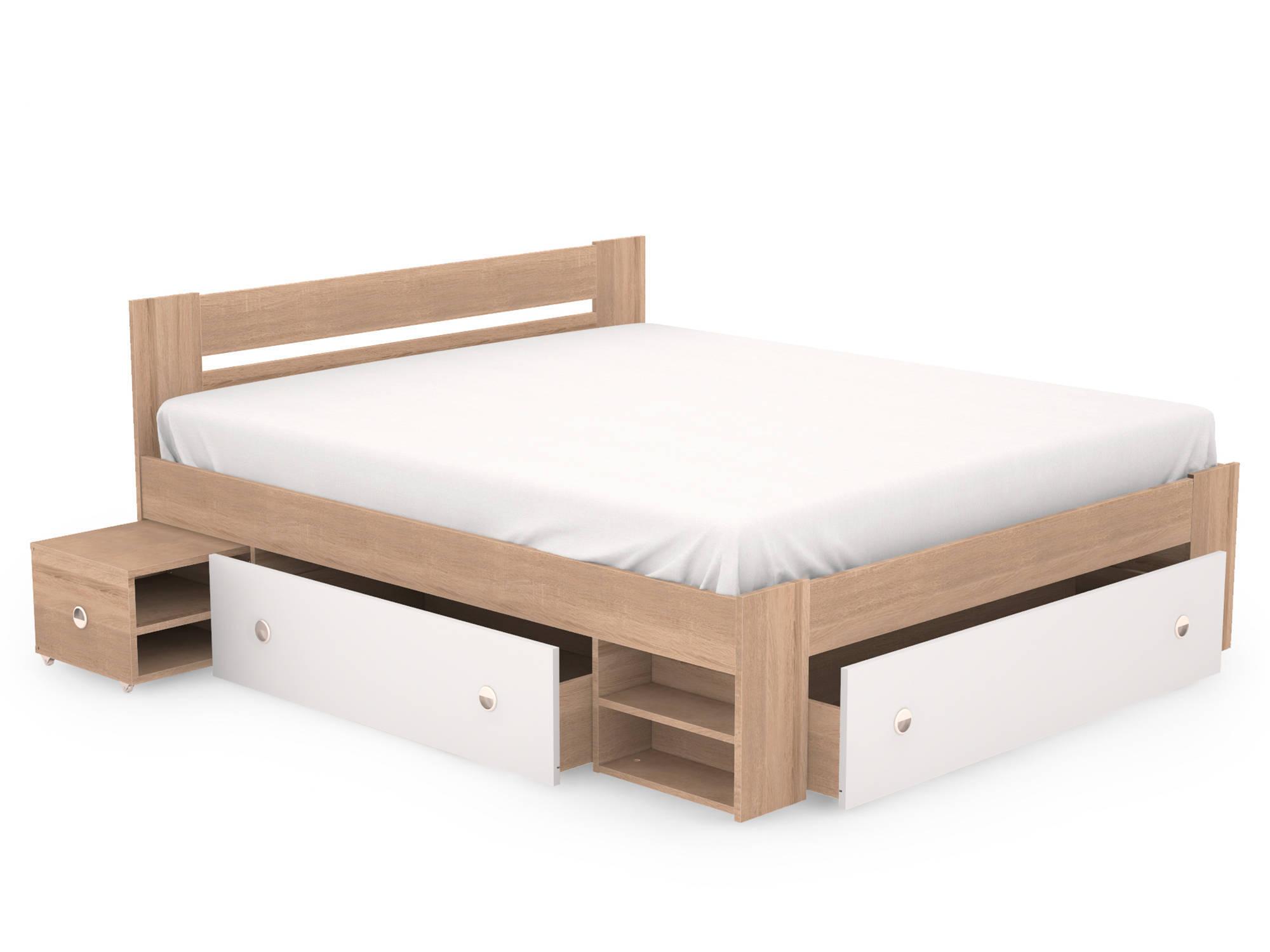 Бело-коричневая минималистичная кровать с ящиками