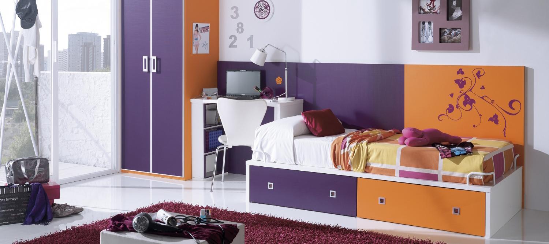 Оранжево-фиолетовая детская мебель