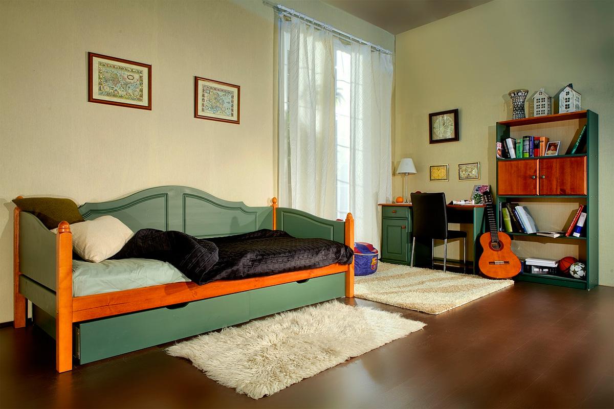 Зелено-коричневый детский диван-кровать с ящиками