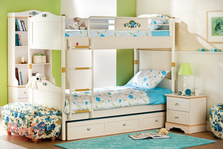Бежевая двухъярусная детская кровать с ящиками
