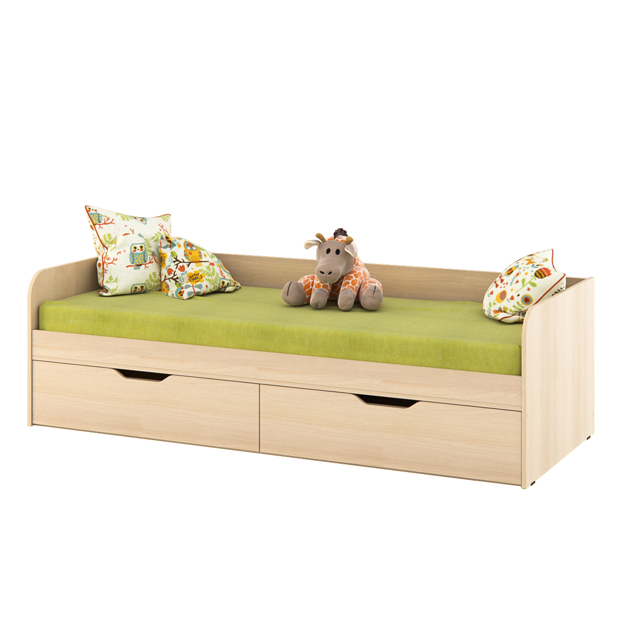 Бежевая детская кровать с двумя ящиками