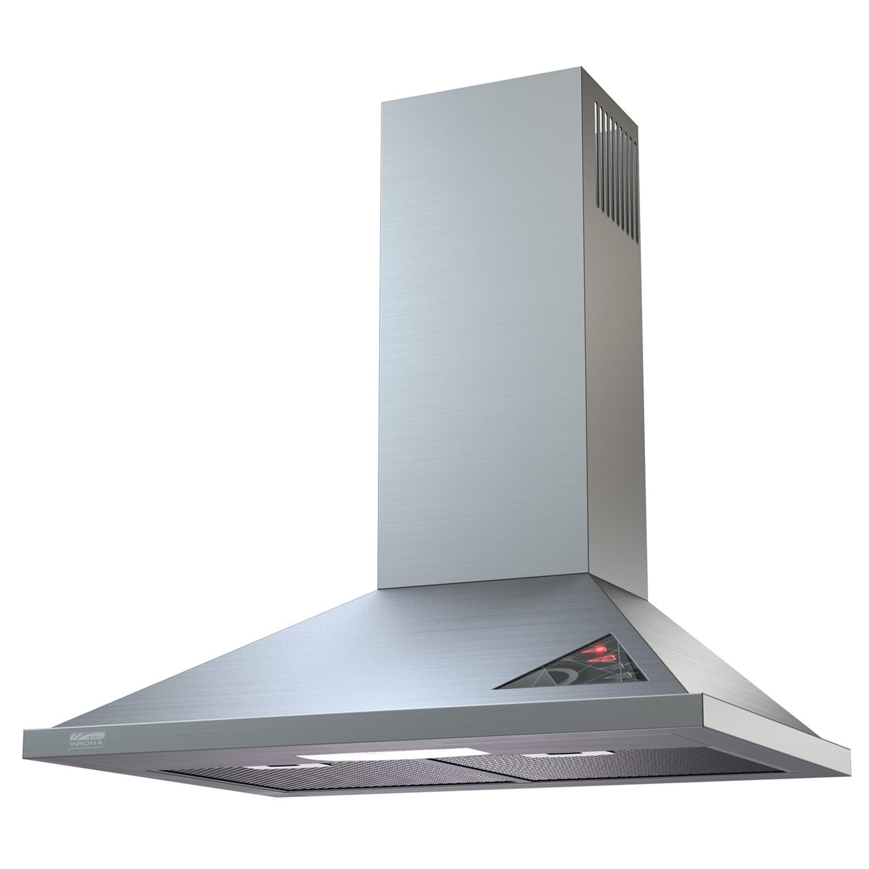 Стильная металлическая купольная вытяжка на кухне