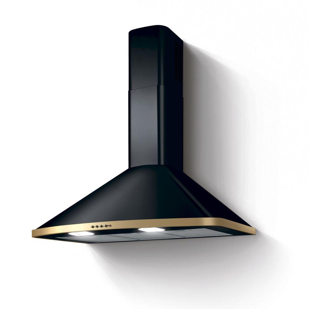 Черно-золотистая купольная вытяжка для кухни