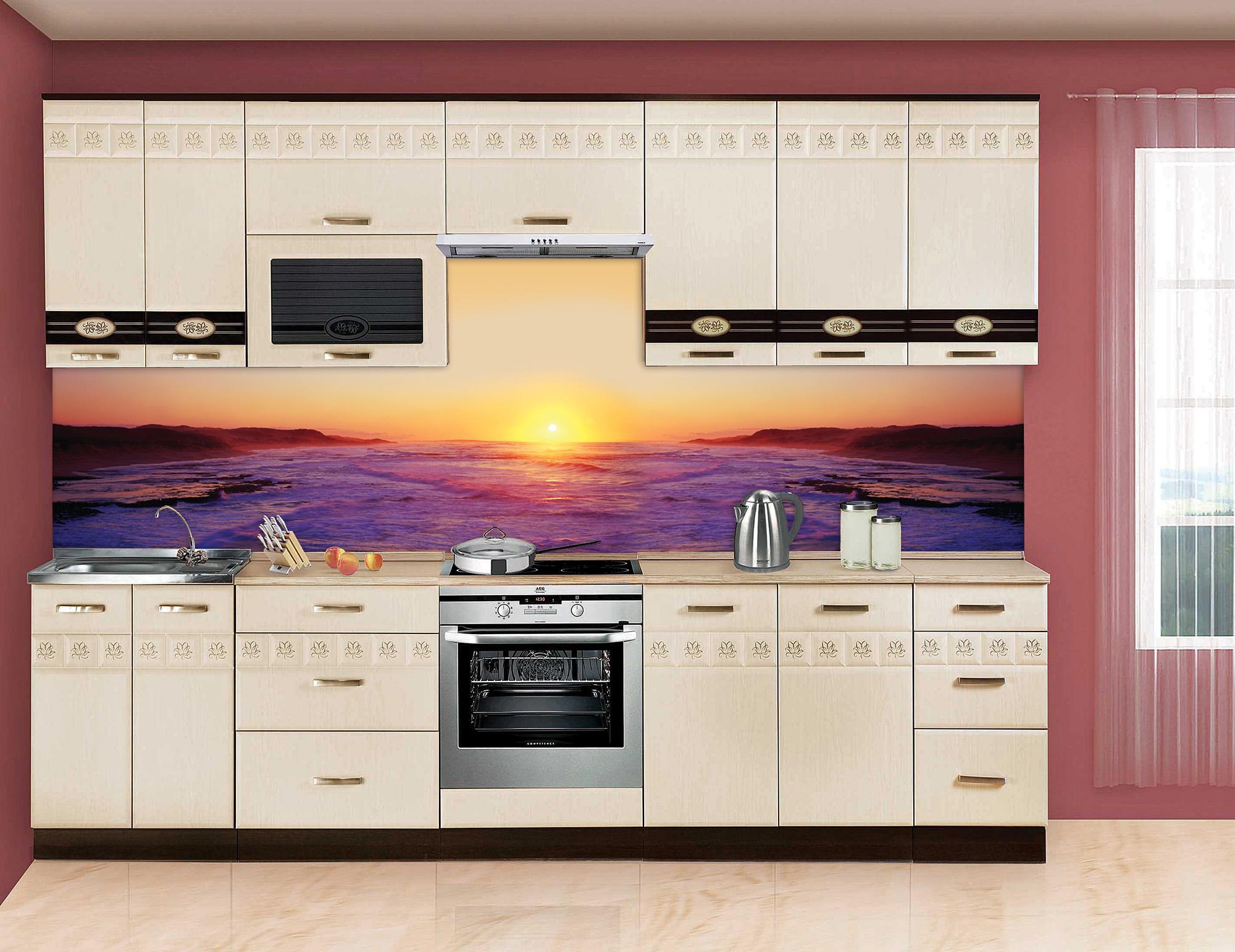 Кухонный стеклянный фартук с изображением океана
