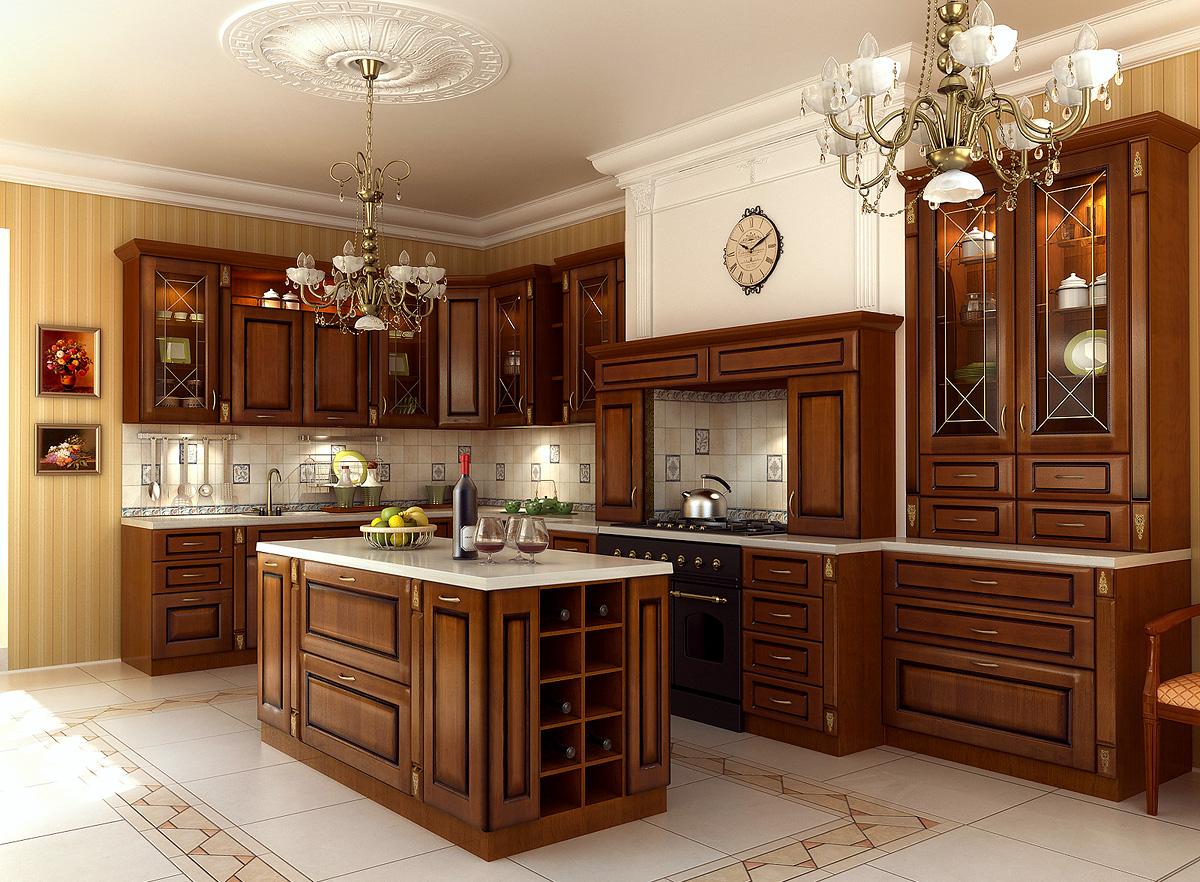 Коричнево-белая классическая кухня с островом