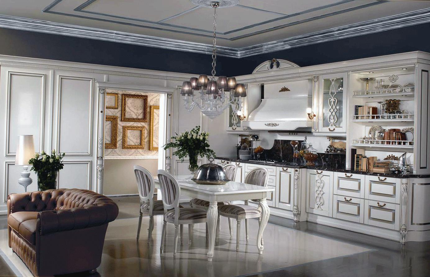 Светлая гостиная-кухня в классическом стиле