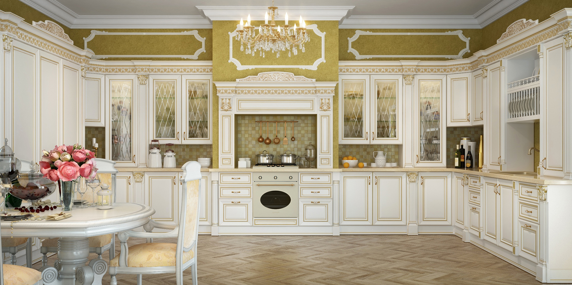 Фартук из мелкой плитки в классической кухне